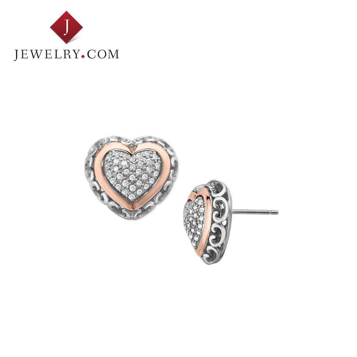 Jewelry.com official silver 925 k rose gold inlay small diamond heart love earrings earrings earrings europe and america
