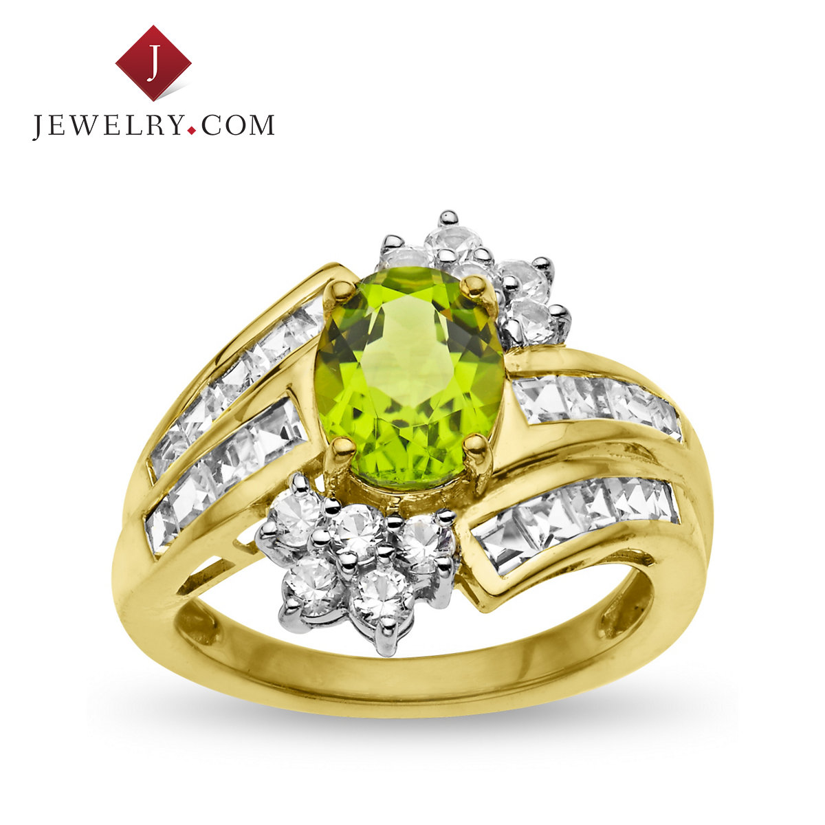 Jewelry.com official silver plated 925 k gold ring inlaid 3.5 karat olivine and white and blue gem nvjie