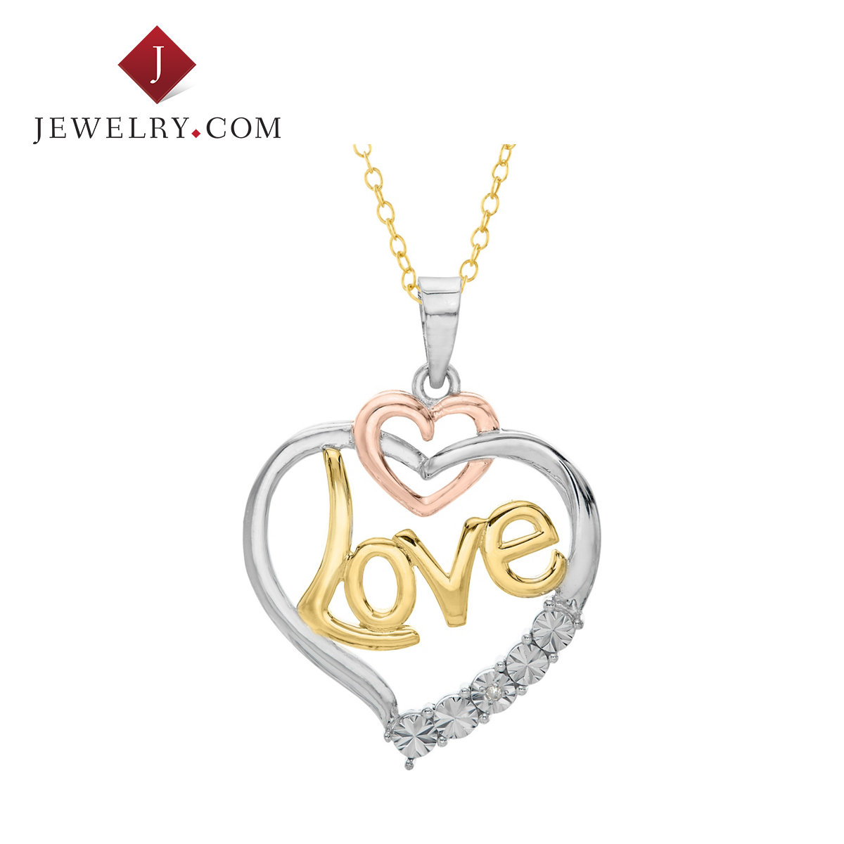 Jewelry.com official silver plated gold color 925 k gold love heart diamond charm female models pendant with sterling silver chain
