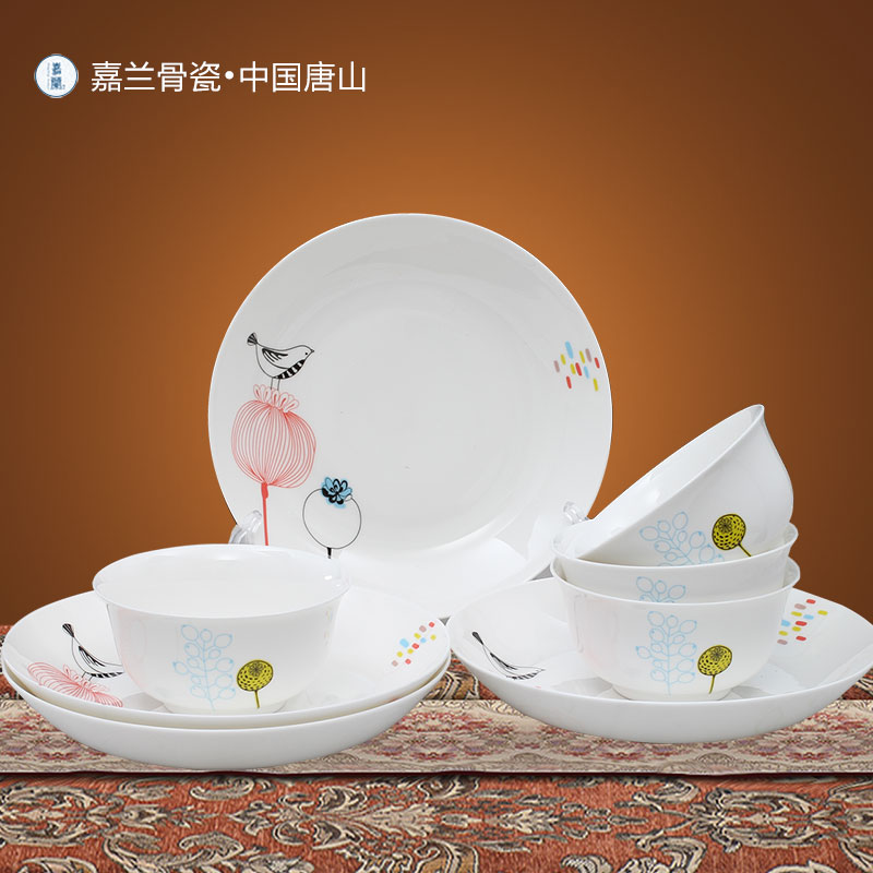 Jia lan niaoyuhuaxiang 8 head bone china tableware suit dishes suit home and practical household ceramics bowl