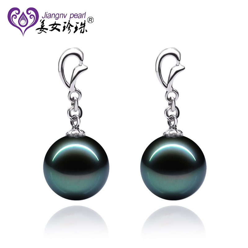 Jiangnv pearl k gold seawater tahitian black pearl earrings perfect circle of genuine mother's day