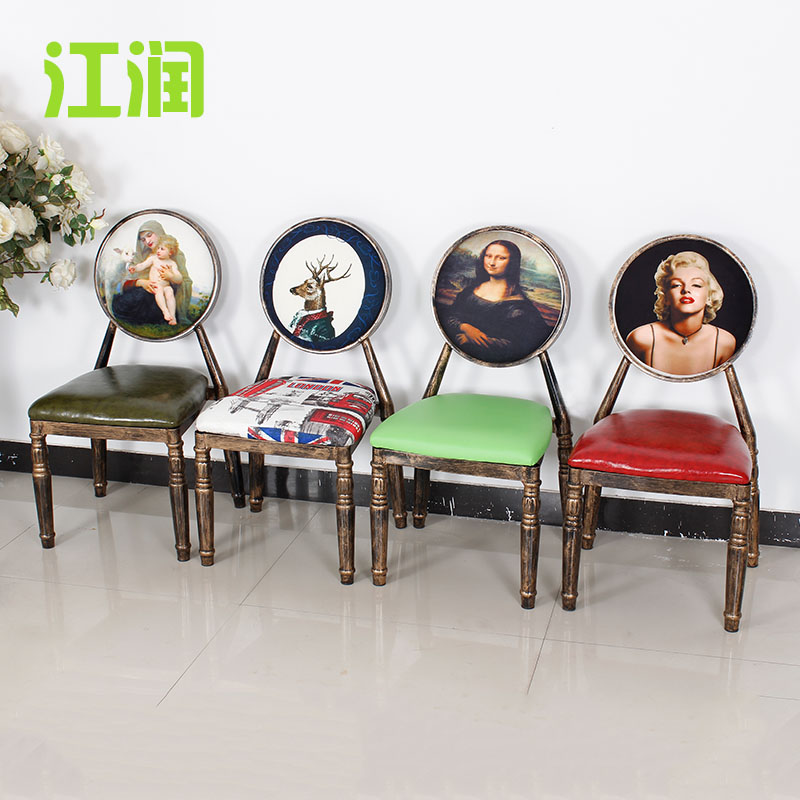 Jiangrun american country wrought iron dining chair wooden chair back dining chairs retro cafe creative personality chair