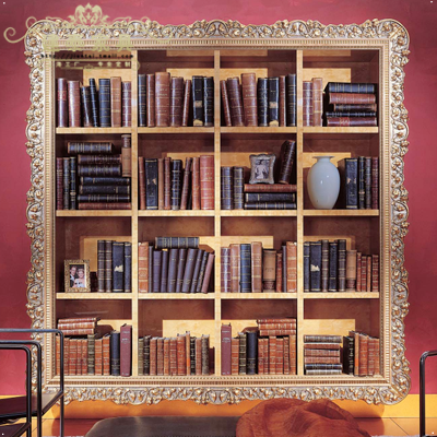 Jiantai euclidian gilt carved wood wall shelf wood bookcase bookshelf library bookshelf