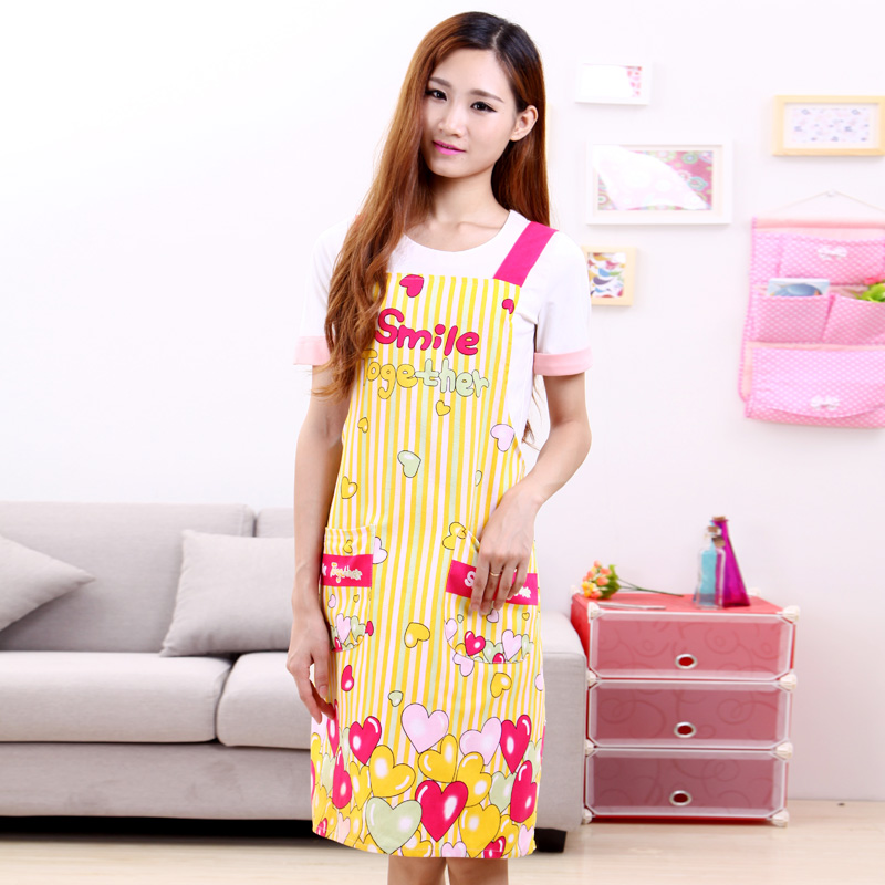 Jie ran grid thick overalls korean fashion cute kitchen kitchen kindergarten beauty nail shop canvas apron shipping