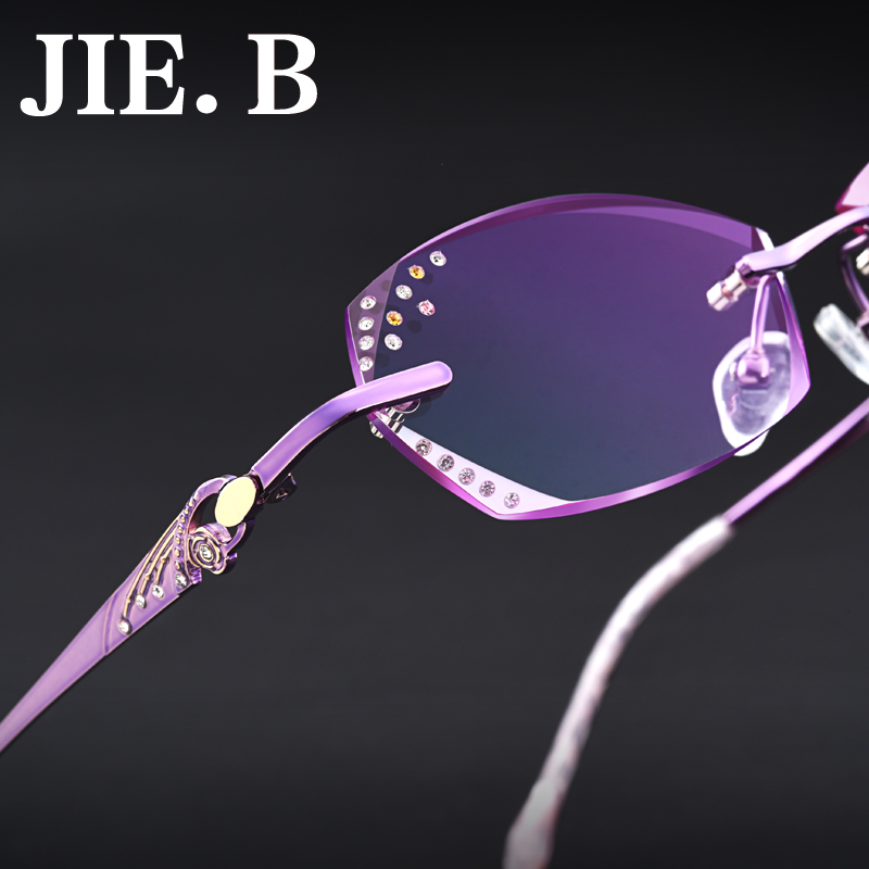 Jieb female diamond trimming rimless glasses frames myopia myopia ultralight titanium glasses frame glasses frame finished with color