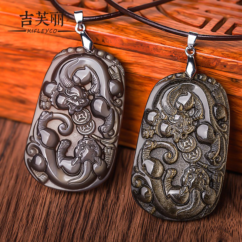 Jifu li necklace opening of natural ice kinds of obsidian pendant double brave gold obsidian ice color