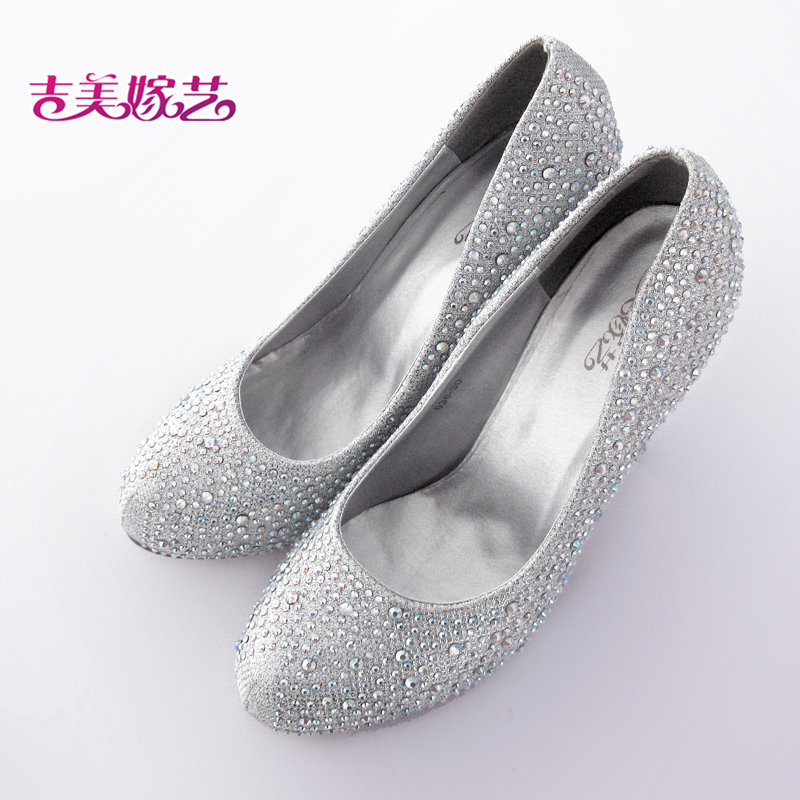 Jigme married arts 3830 new wedding shoes wedding shoes bridal shoes silver high heels korean version of the new female wedding shoes