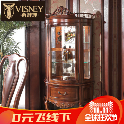 Jill rationale furniture on jianmei american solid wood carved glass door wine cabinet display cabinet semicircle cabinet collection m7