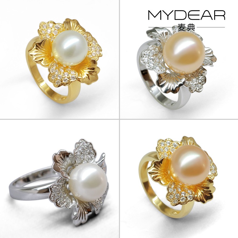 Jimmy code jewelry 9-10 natural color freshwater pearl ring ring trumpet flowers atmospheric gold and silver 925 silver plated three color models