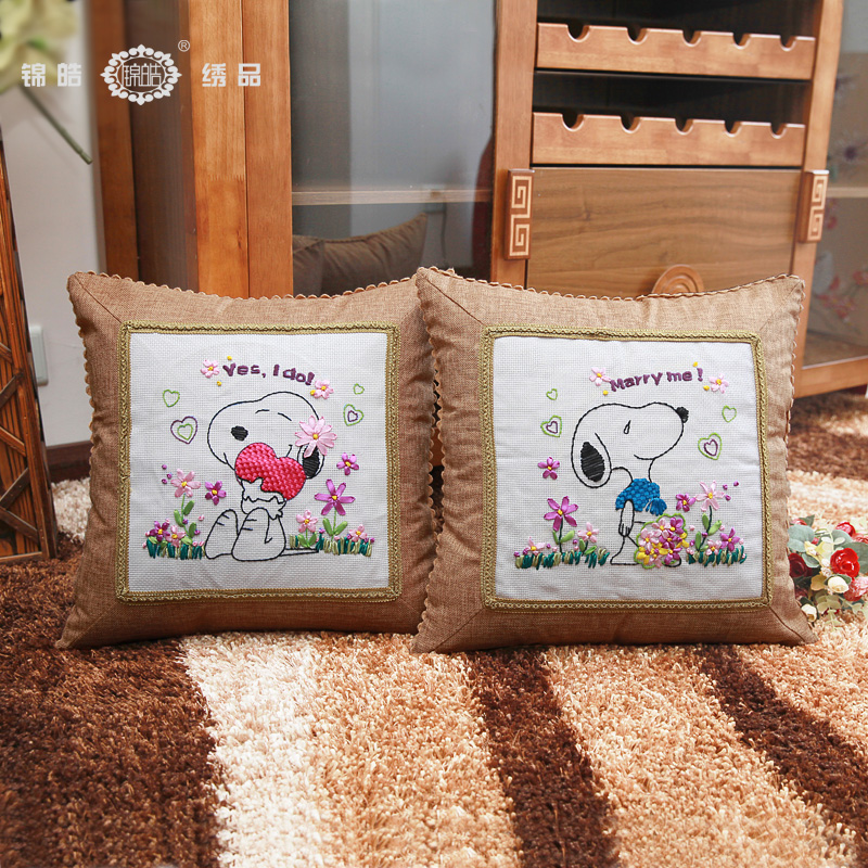Jin hao ribbon embroidery stitch new living room bedroom cartoon couple pillow cushions married history efforts than one pair