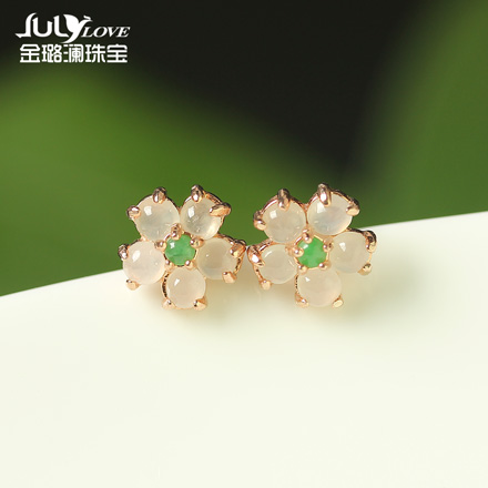 Jin lulan genuine s925 silver earrings inlaid jade jade a cargo of ice kinds of jade earrings jade earrings 005 shipping