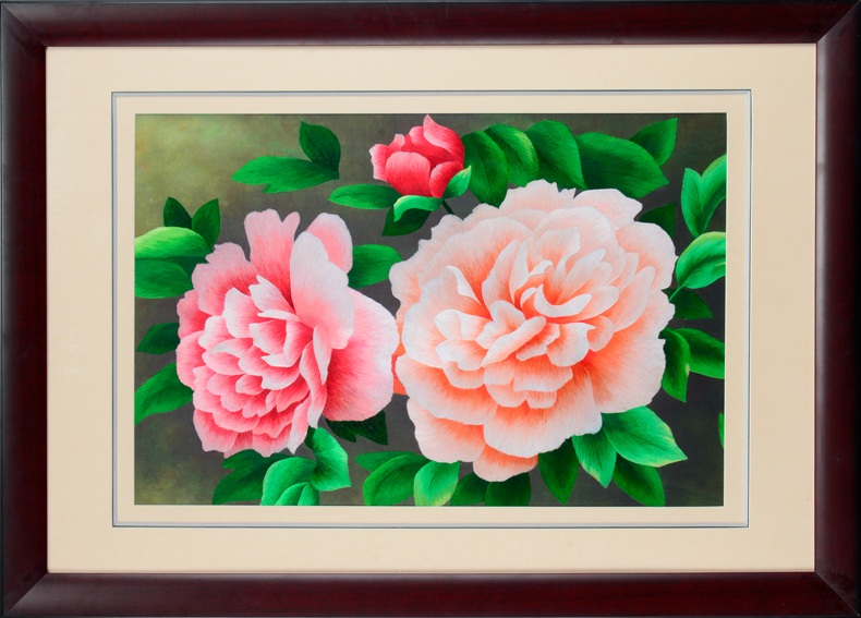 Jin wu needle embroidery suzhou embroidery handmade embroidery finished living room decorative painting paintings aromatic peony