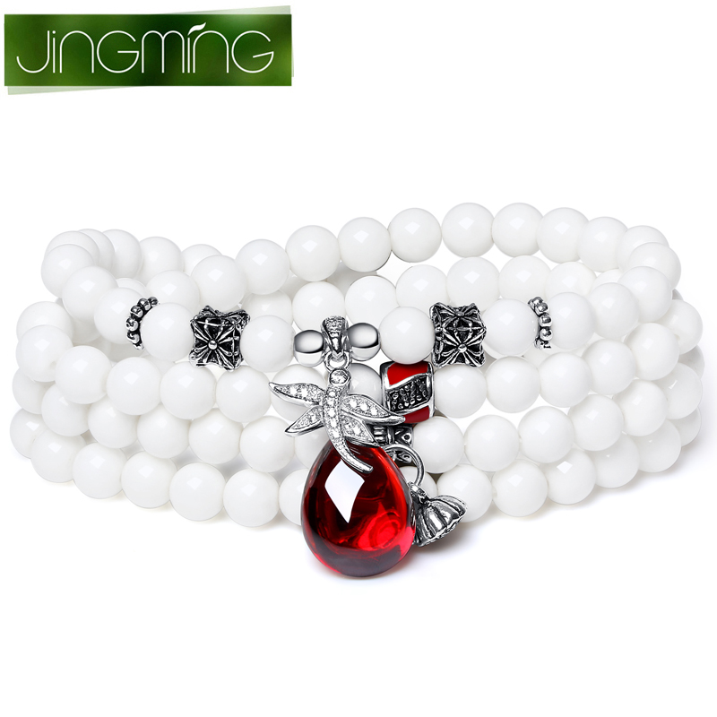 Jing ming with garnet crystal bracelet white clam multiturn lapis amazonite bracelets five optional