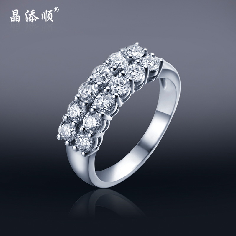 Jing tian shun 1.2CT k gold diamond light luxury minimalist fashion double ring ring ring nvjie row diamond ring authentic