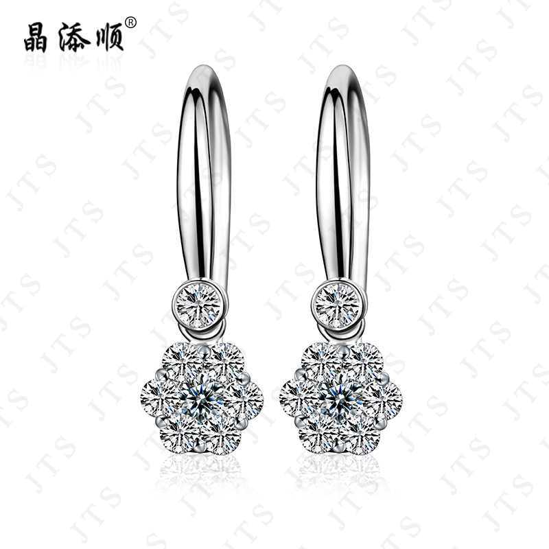 Jing tian shun white k gold diamond stud earrings wedding luxury group inlay south african diamond earrings earrings given genuine system