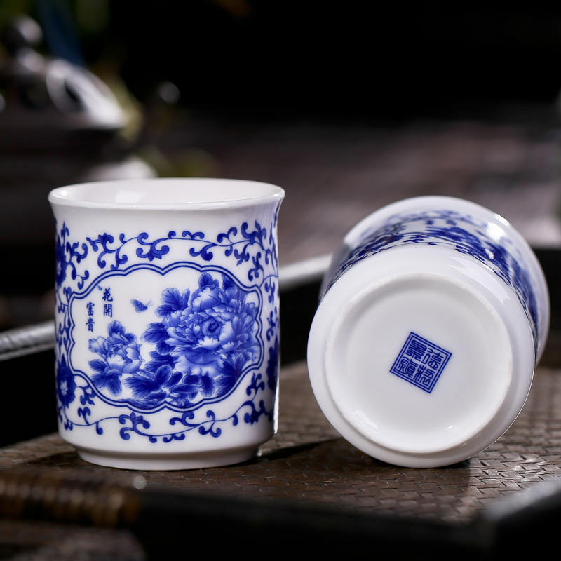 Jingdezhen blue and white ceramic cup readily cup cold water cup cups small cup of wine shop office gift cup cup cup meeting