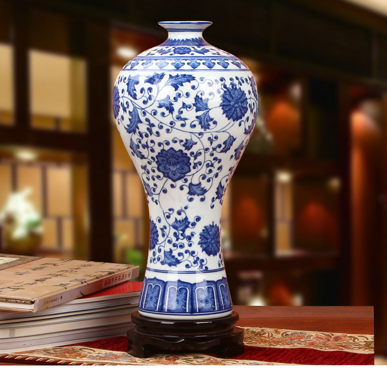 Jingdezhen ceramic antique blue and white porcelain flower scroll plum vase chinese classical decorative ornaments crafts