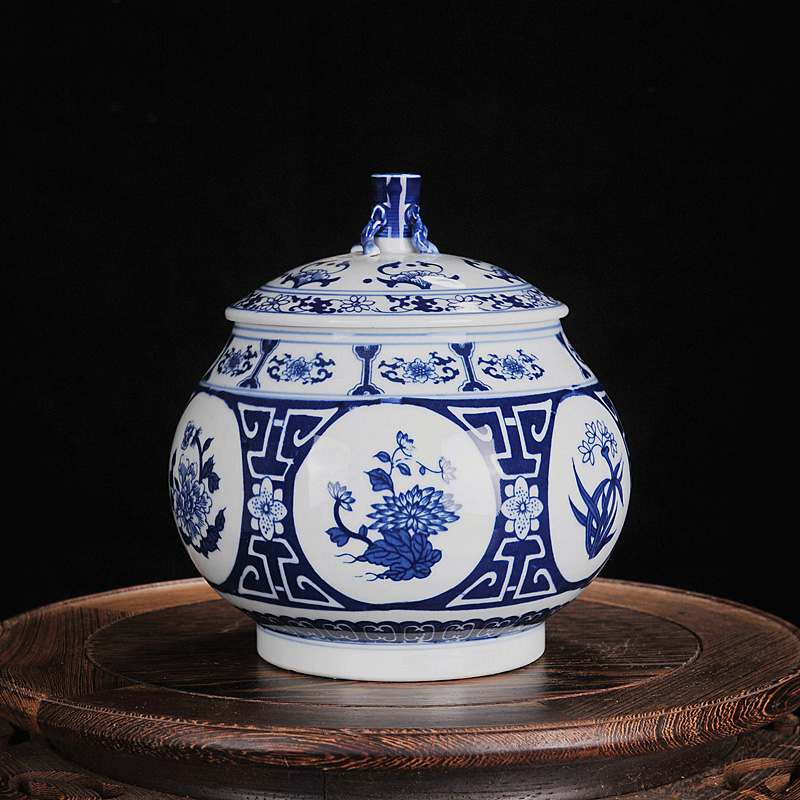 Jingdezhen ceramic antique blue and white porcelain tea caddy storage boxes of tea canisters canister pu'er seven cake tea pot pie