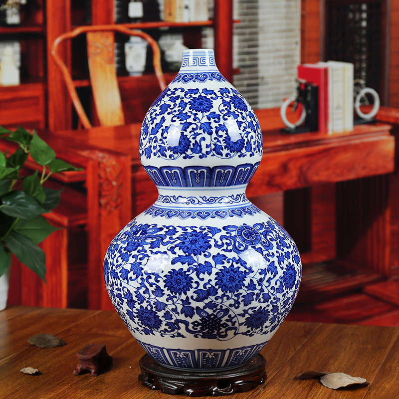 Jingdezhen ceramic blue and white porcelain lotus scroll floor large vase home accessories wedding decoration living room company
