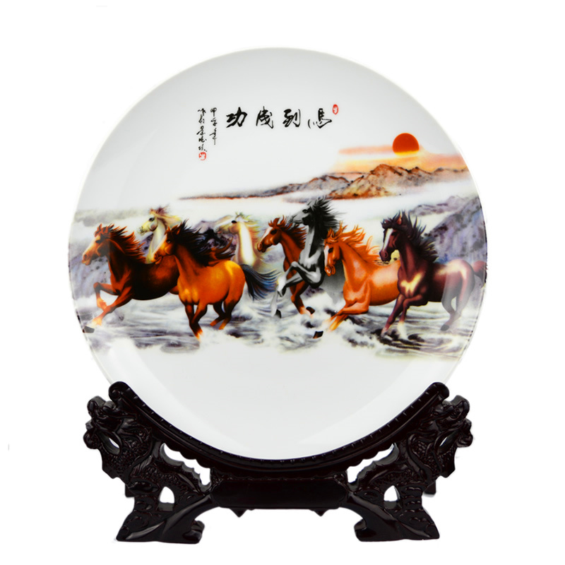 Jingdezhen ceramic decorative plate hanging plate porcelain ornaments living room entrance reunions souvenir gift custom bi industry