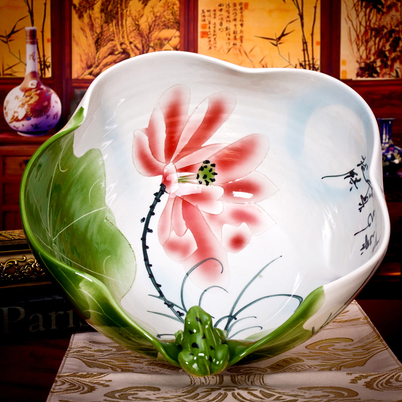 Jingdezhen ceramic fish tank reniforme frog painted turtle tank bowl lotus water lily lotus tank ornaments hc-113