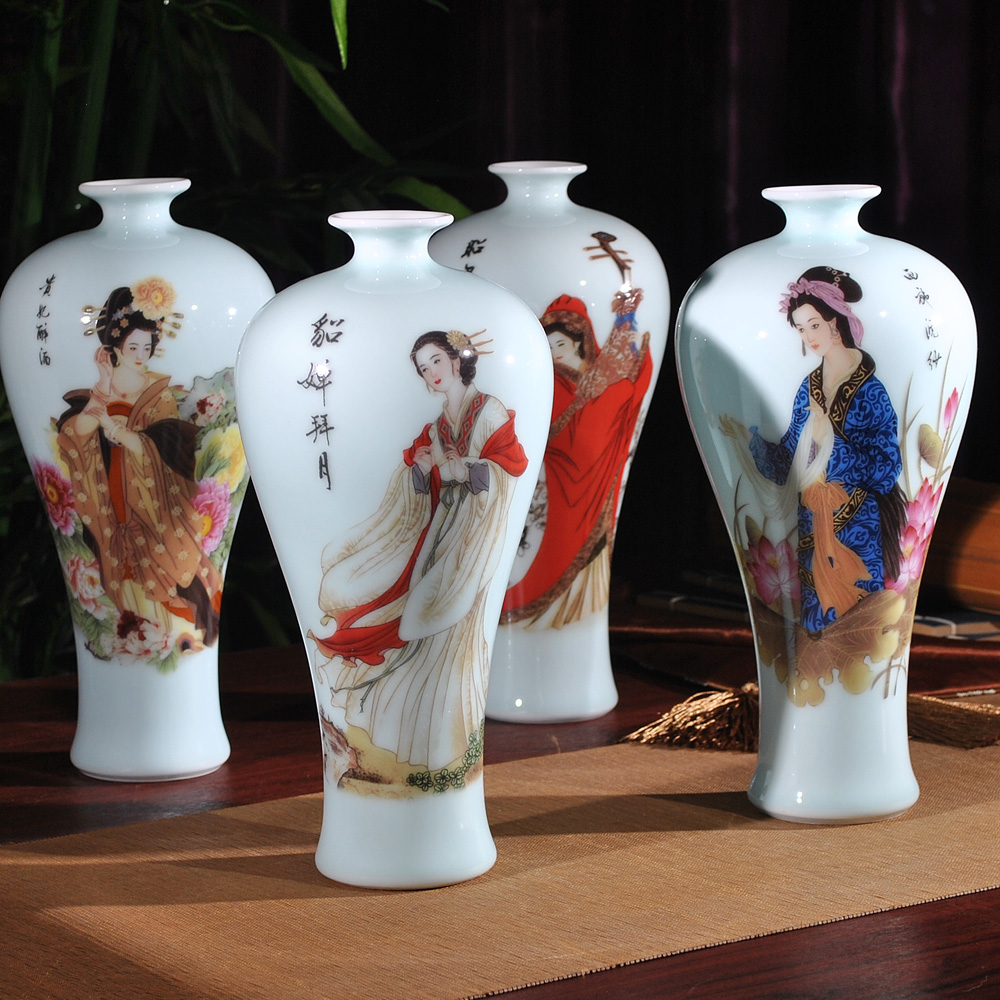 Jingdezhen ceramic glazed porcelain figure four beauties countertops small vase modern living room decorations ornaments porch