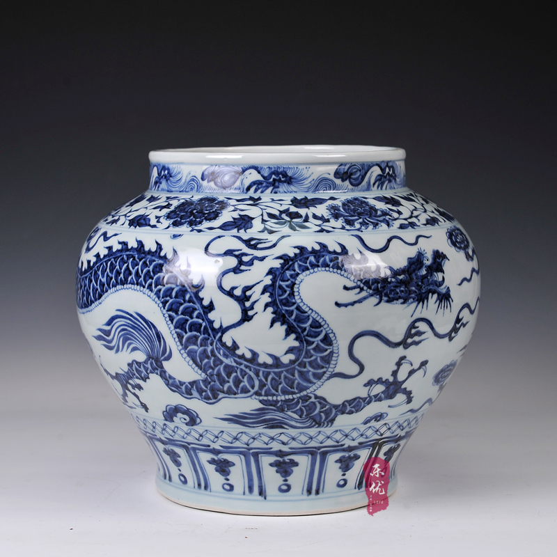 Jingdezhen ceramic imitation of the yuan blue and white porcelain dragon vase living room home decoration crafts ornaments canister