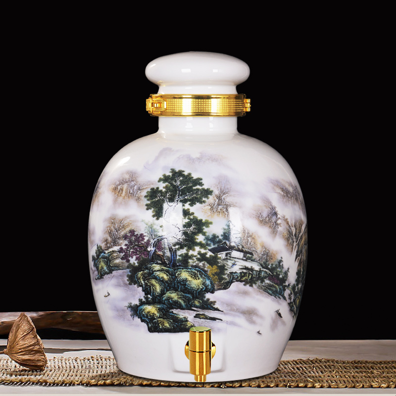 Jingdezhen ceramic jars 10 20 30 catty catty catty white jug wine bottle sealed with leading sparkling wine jar landscape Cans