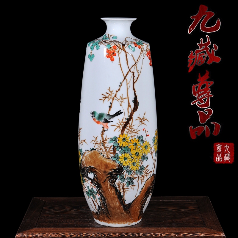Jingdezhen ceramic vase modern living room master painted impressionistic pastel autumn home crafts ornaments