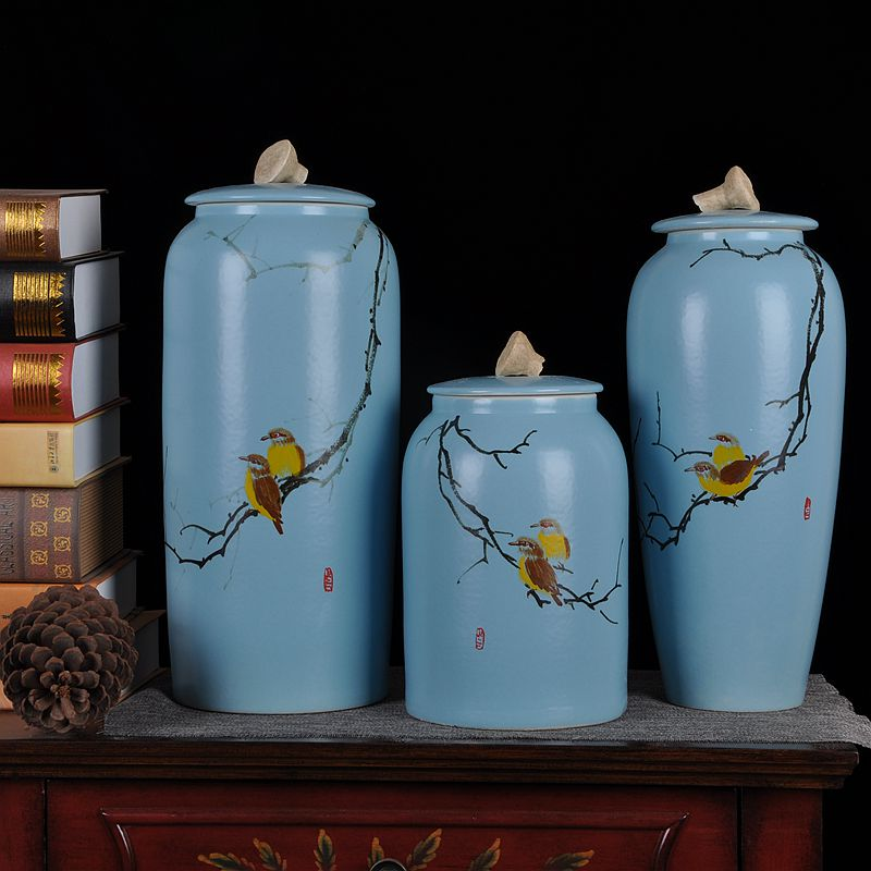 Jingdezhen ceramic vase storage tank three sets of modern chinese home decoration ornaments crafts home decorations living room