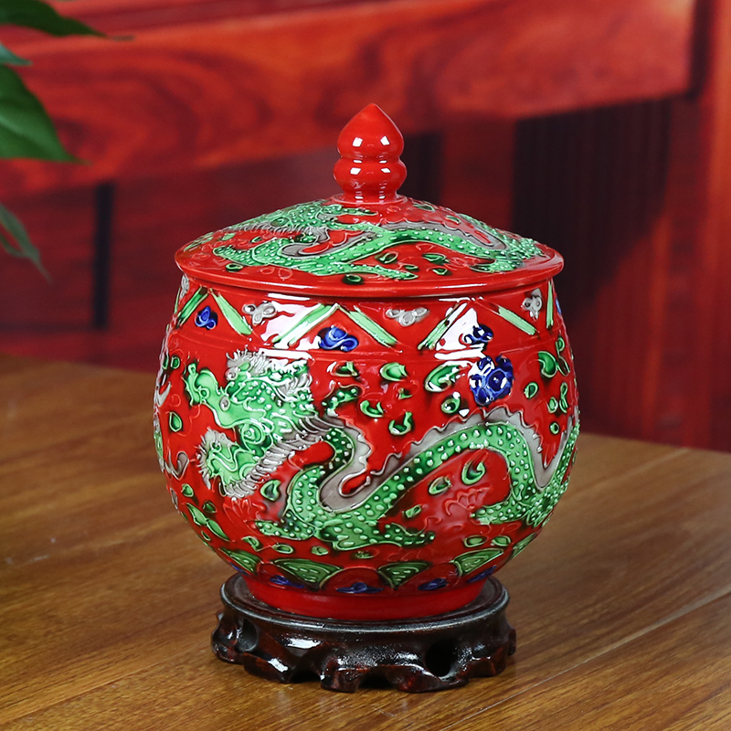 Jingdezhen ceramics antique ancient color canisters canister candy jar sealed cans home accessories living room ornaments