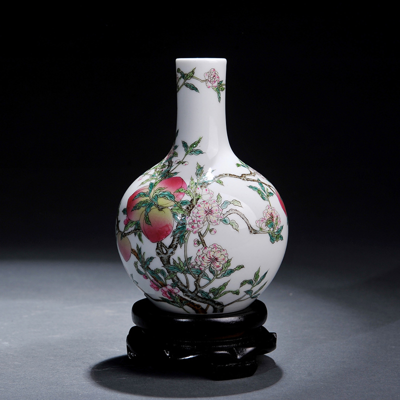 Jingdezhen ceramics antique painted pastel peach celestial vase ornaments living room furnishings crafts collection
