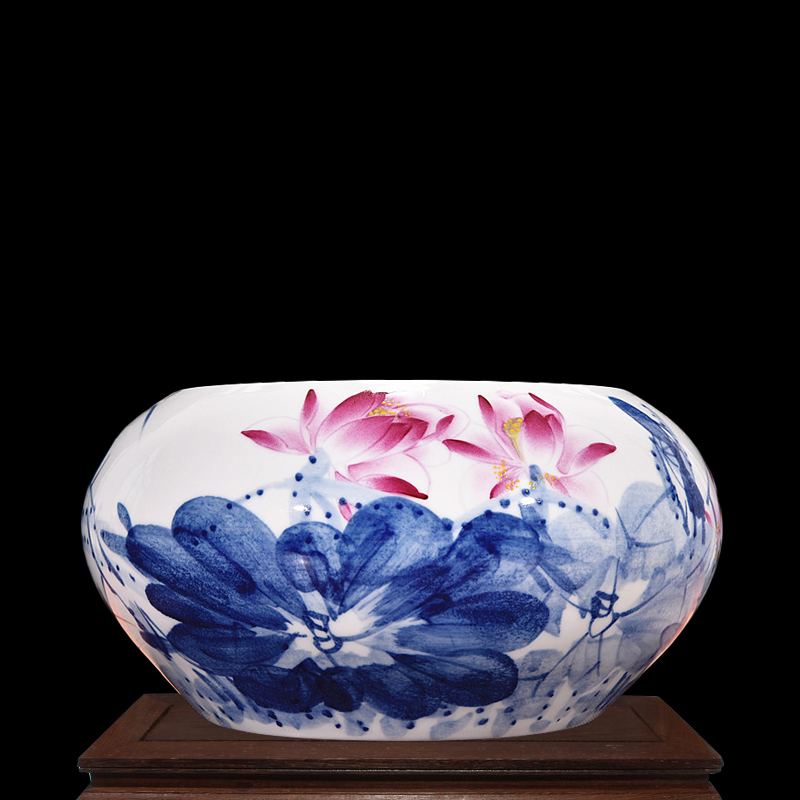 Jingdezhen ceramics famous painted lotus tank aquarium goldfish bowl turtle tank water lily narcissus flowers pots decoration