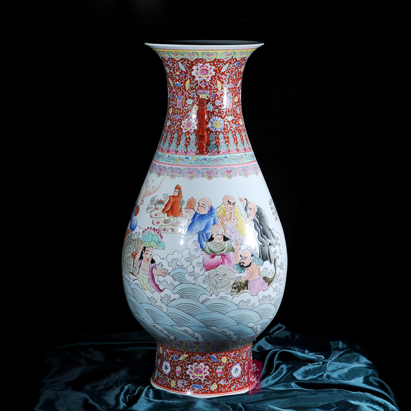 Jingdezhen ceramics painted pastel eighteen tltle large vase antique ornaments crafts home living room decoration