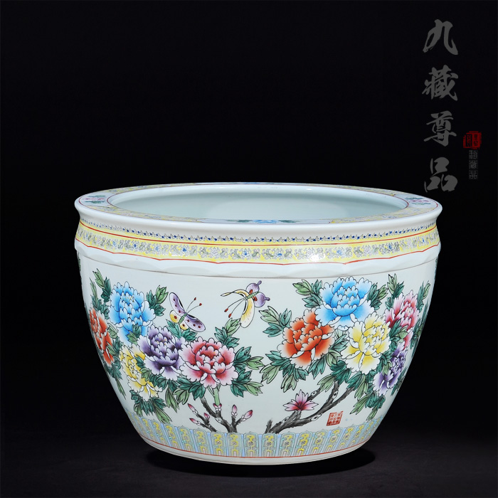 Jingdezhen ceramics upscale antique painted pastel blossoming living room tv cabinet ornaments crafts