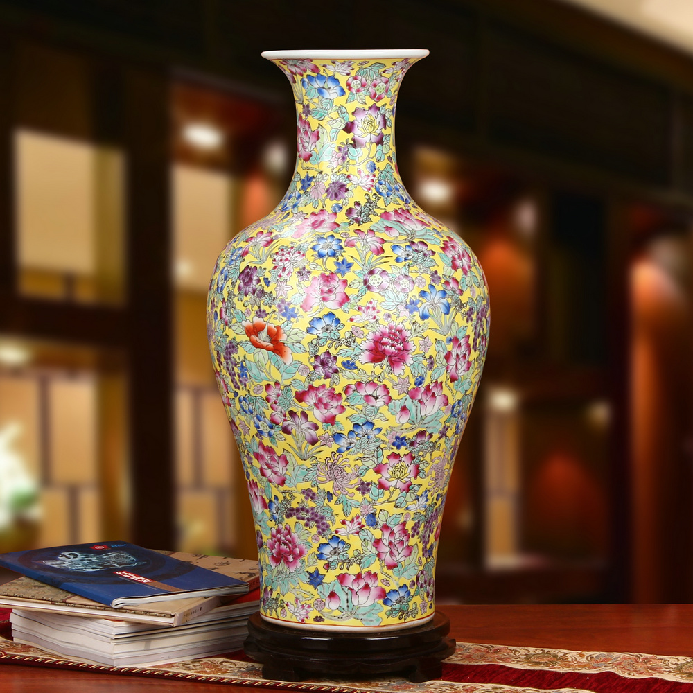 Jingdezhen ceramics upscale boutique antique pastel yellow peony blossoms painted home floor flower bottle