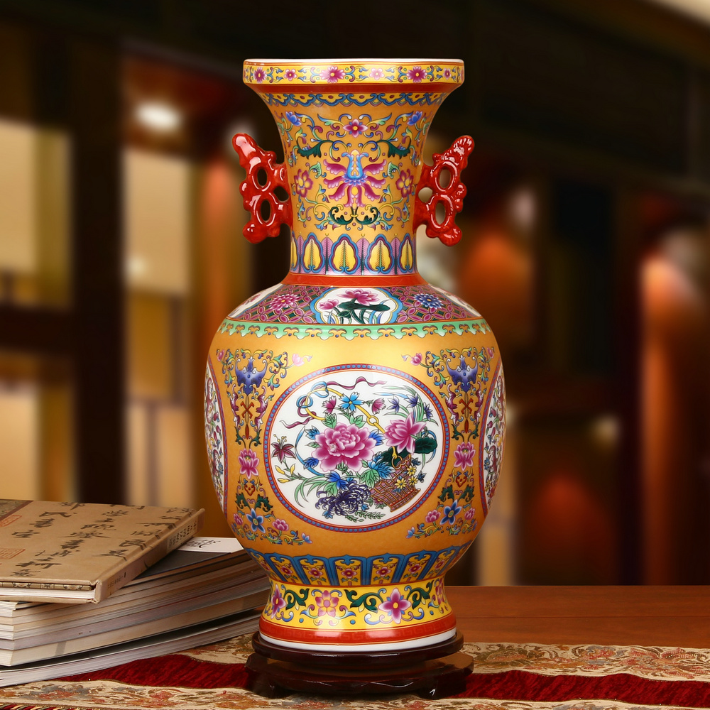 Jingdezhen ceramics upscale enamel gold at the end of climbing flower vase pinch ears blessing chinese craft ornaments collection