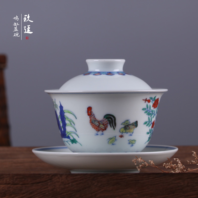 Jingdezhen hand painted blue and white bucket color ming dynasty chenghua archaized chicken cylinder with god tureen bowl ceramic bowl free shipping