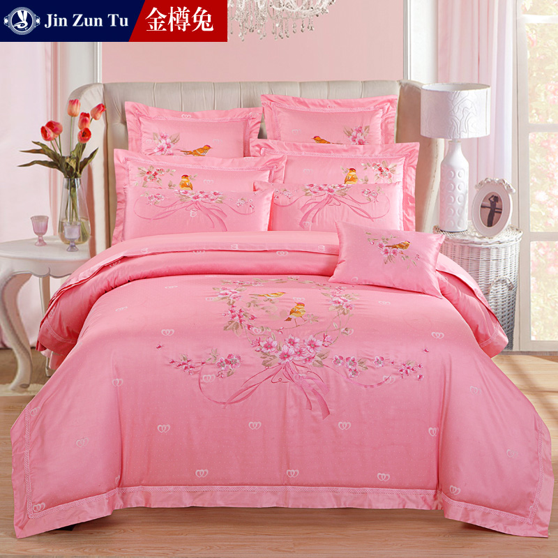Jinzun rabbit pink red wedding denim textile cotton jacquard bedding wedding pieces of sets of bed cover a family of four