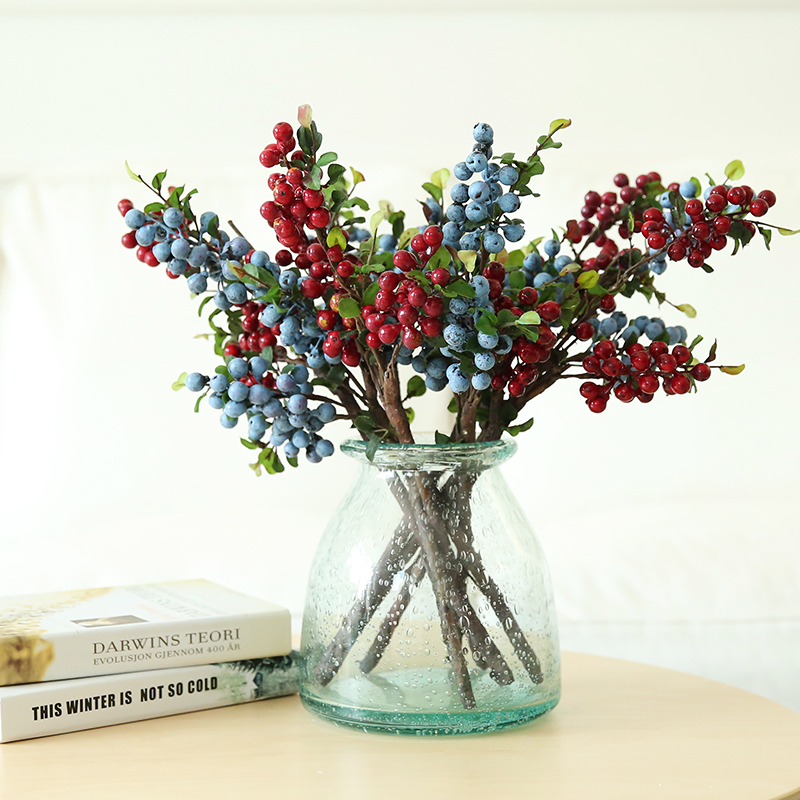Jiu ba qi er simulation berries red berries neoclassical living room furnishings decorative artificial flowers floral single branch four fruit fork