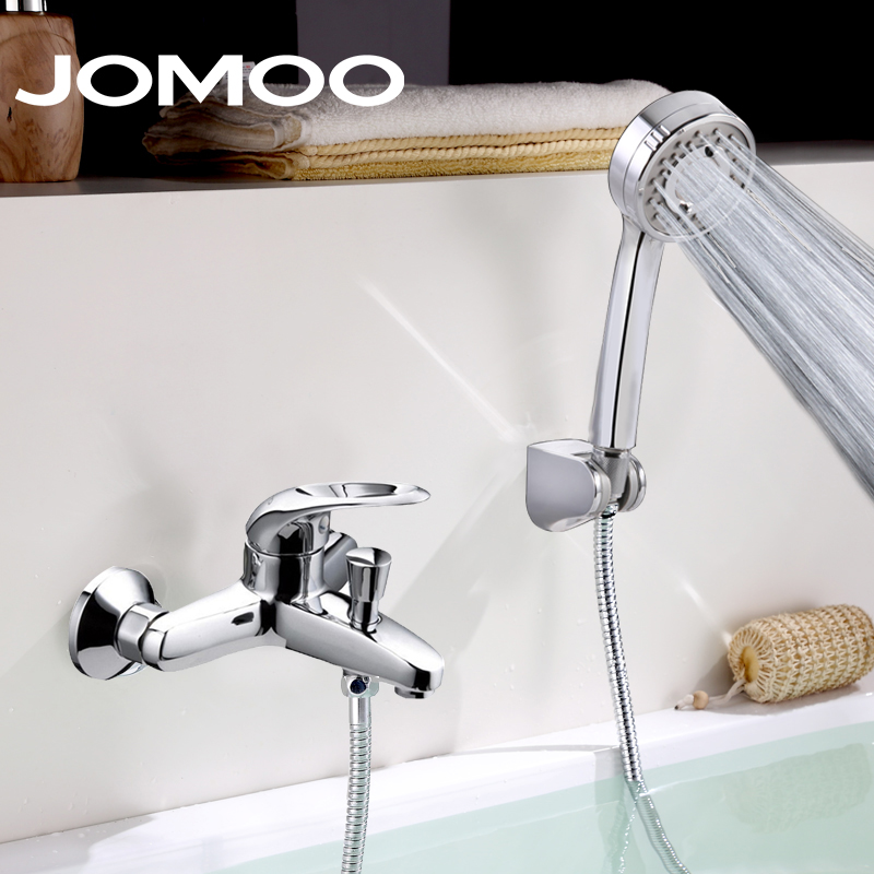 Jiumu bathroom shower suit all copper pressurized spray shower head bathroom shower faucet hot and cold water is genuine