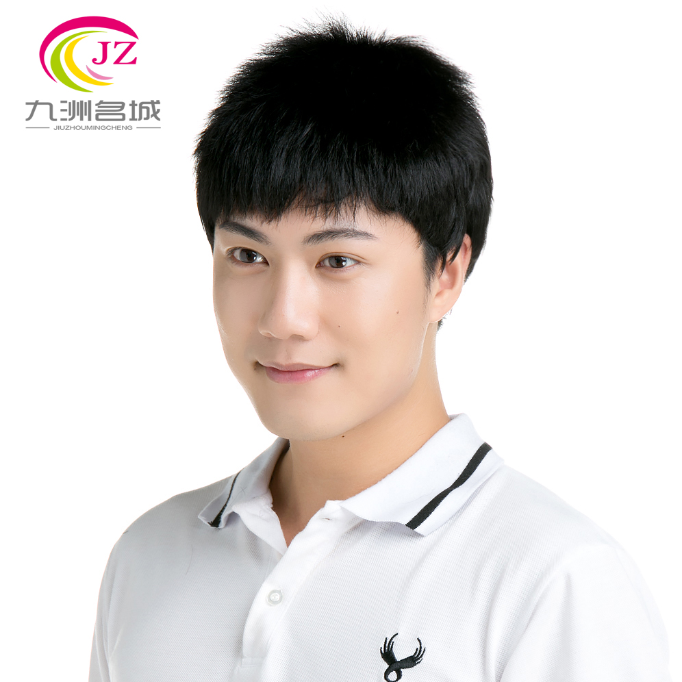 Jiuzhou city handsome man with short hair wig wig middle-aged dad male flat with short hair wigs for men wigs