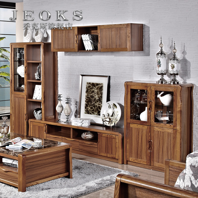 Jocks ash tv cabinet coffee table combination of solid wood frame decorative storage cabinet wine cabinet living room cabinet