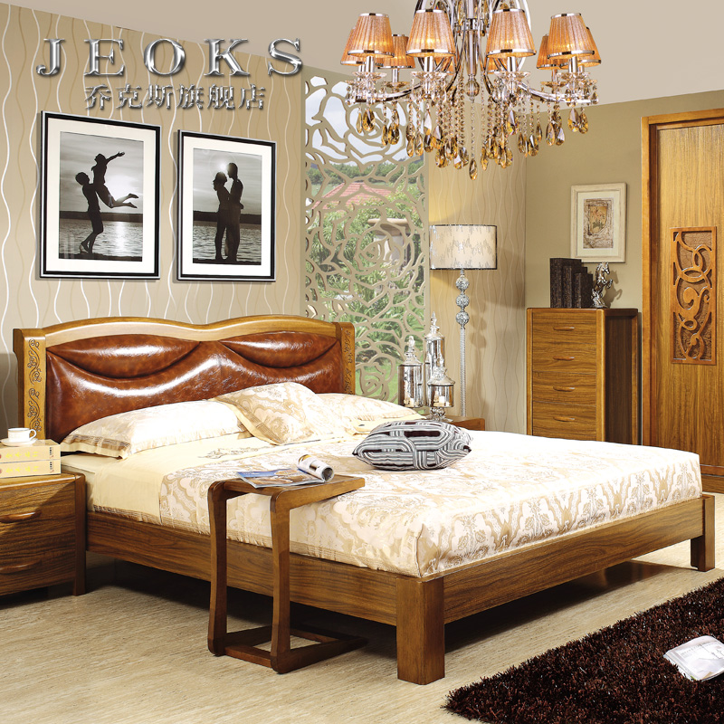 Jocks ugyen wood color wood frame 1.5 1.8 m soft bed by bed bedroom modern double bed three sets