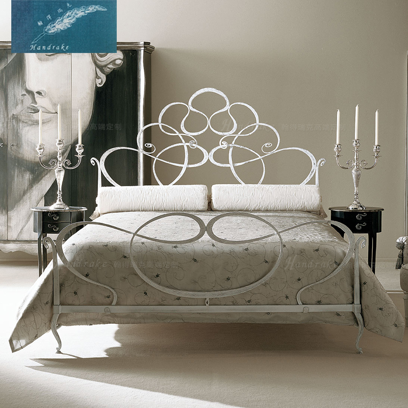 John much rick custom bedroom neoclassical wrought iron double bed metal frame bed princess bed marriage bed twin XD-025