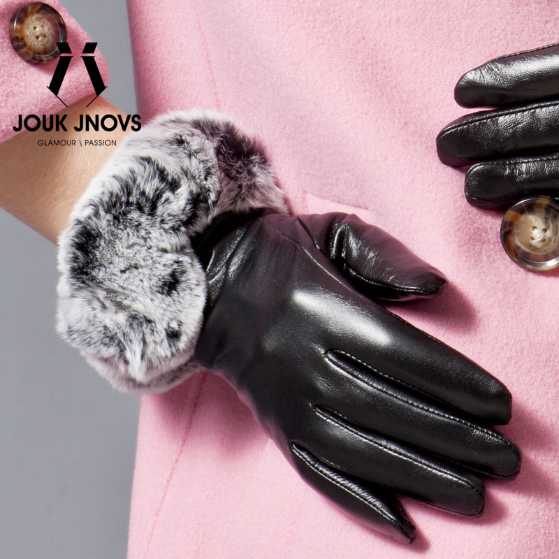 Jouk jnovs new fashion ms. rex wool sheep skin leather gloves full touch touch screen gs5001