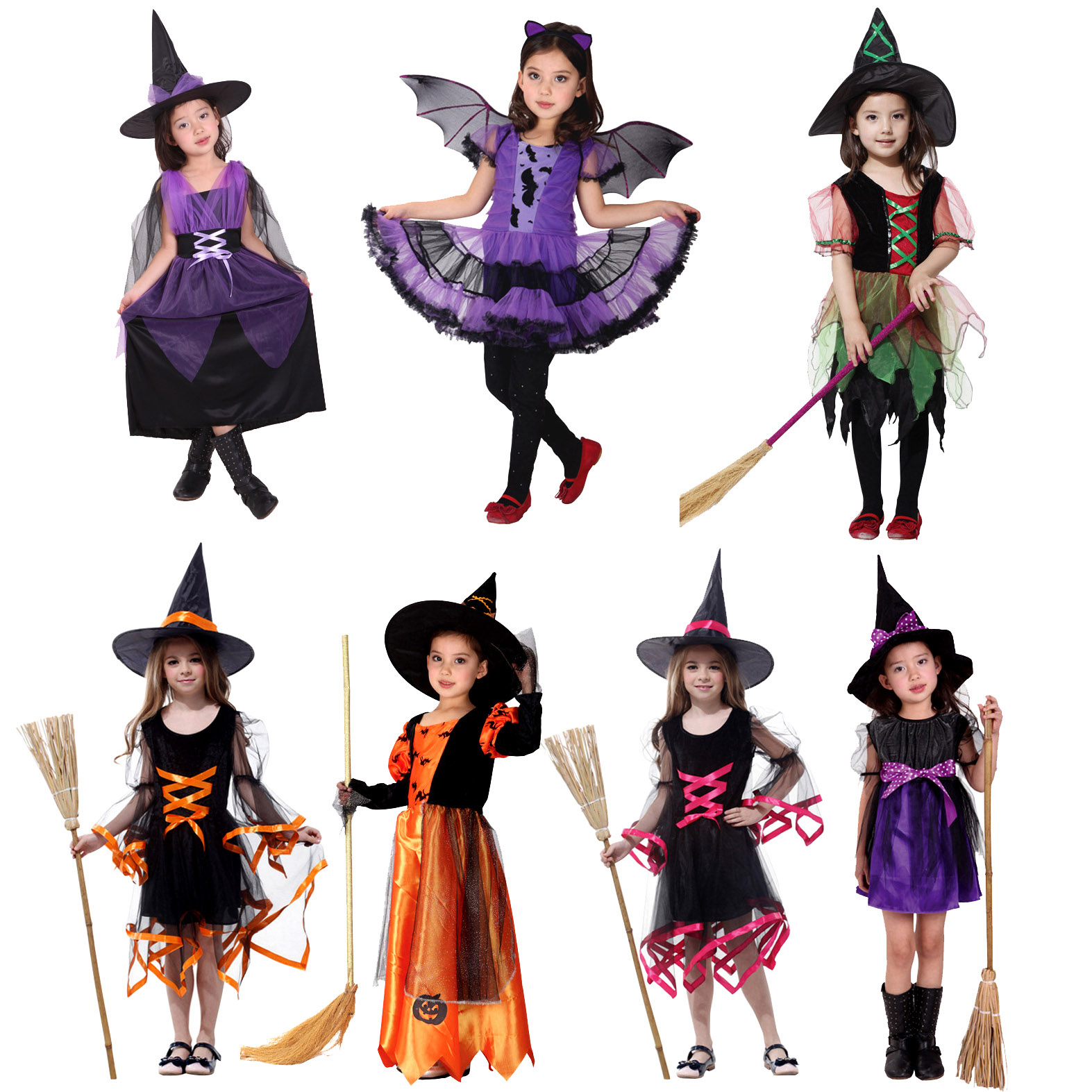 Joy party cos masquerade party halloween children's clothing girls little witch costume witch costume