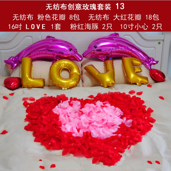 Juggling wedding celebration ceremony arranged marriage room decoration scene simulation fake flower petals simulation rose petals hand throwing suit