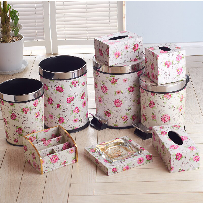 Jump in the garden flower leather trash creative home bathroom trash trash trash fashion creative home