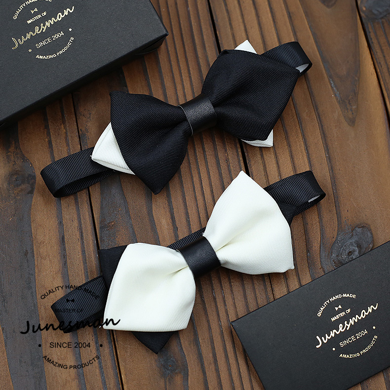 June handmade custom men fashion hit the color black and white double arrow bow tie nano waterproof technology
